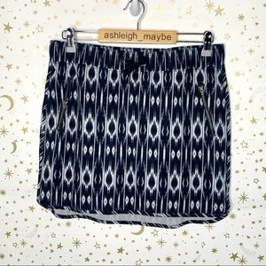 Athleta | Navy White Ikat Print Lined Skirt Medium